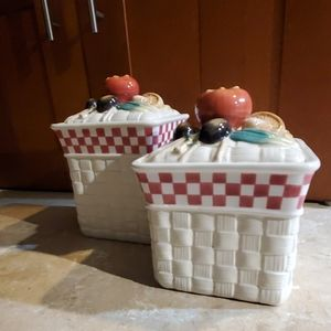 Two Fitz & Floyd Vegetable Basket Canisters